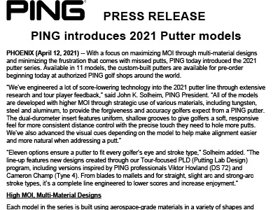 PING Tour News: PING introduces 2021 Putter models